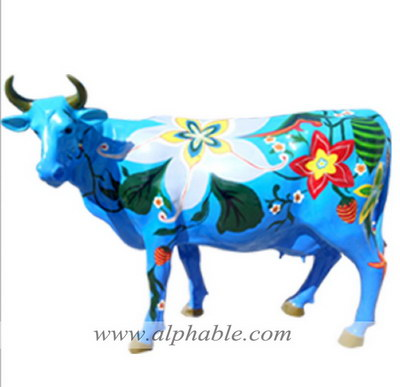 Colorful painted cow sculpture FBA-039