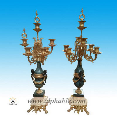 Marble insert bronze pillar candle holders CCD-002