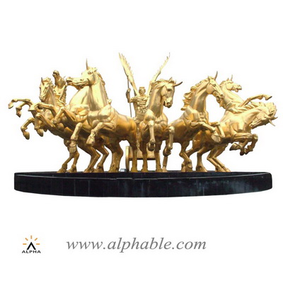 Giant brass Apollo chariot and horses fountain CCF-004