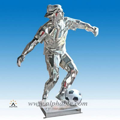 Stainless steel football player statue STL-016