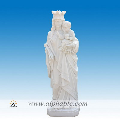 Marble Mary holding baby Jesus statue SS-418