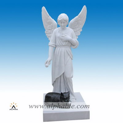 Marble cat angel statue SS-404