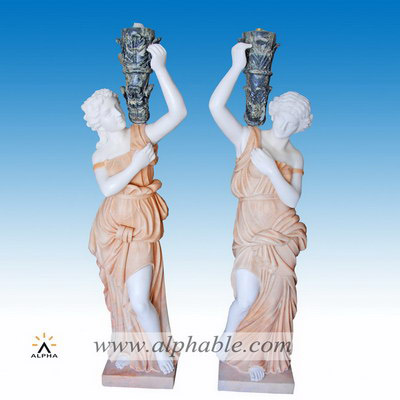 Outdoor marble statue lamp SS-329