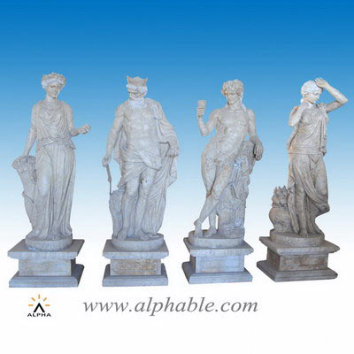 Yellow travertine four seasons statues SS-328