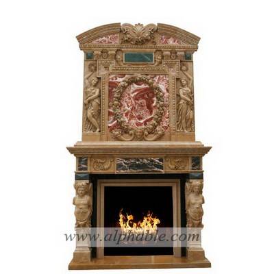 Mixed colors stone overmantel SF-174