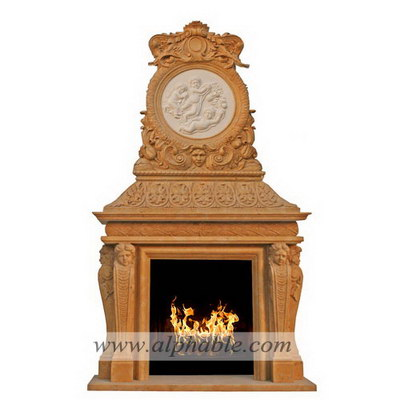 Custom design stone overmantel SF-189