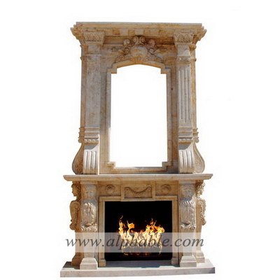 Carved stone large overmantel SF-252