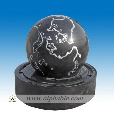 Black granite sphere fountain outdoor SZF-079