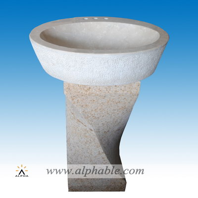 Carved stone round vessel sink SK-061