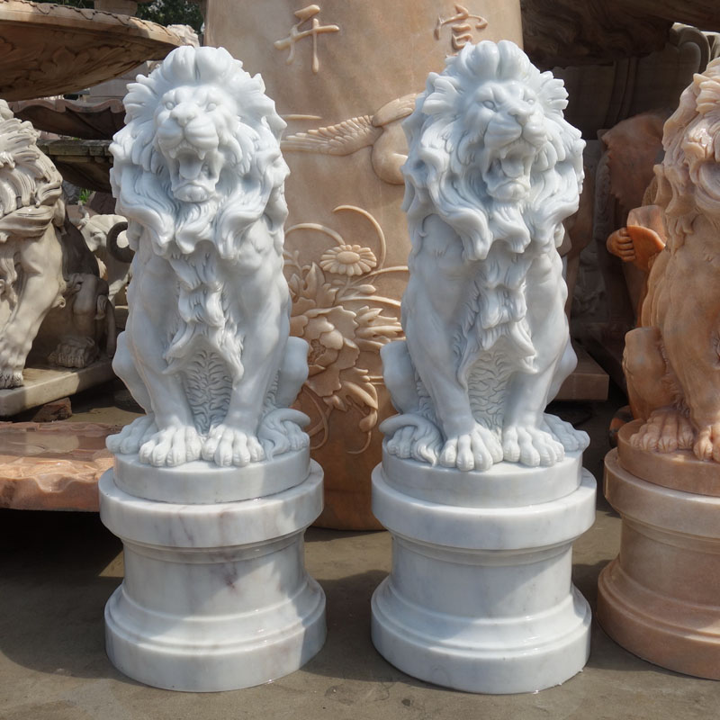 Marble lion with pedestal IMG_0861 height 90 cm