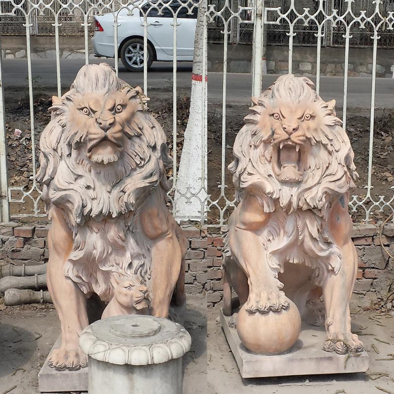 Sunset red marble lion IMG_10847 height 145 cm