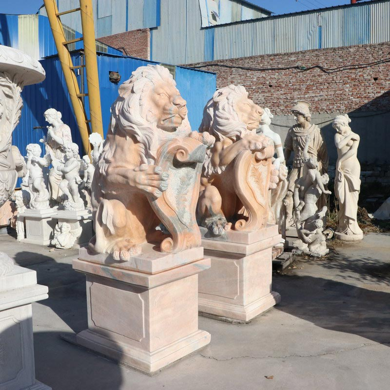 stock sunset red marble lion IMG_7309 height 110+50 cm