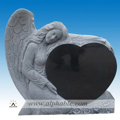 Granite heart angel headstone SM-036